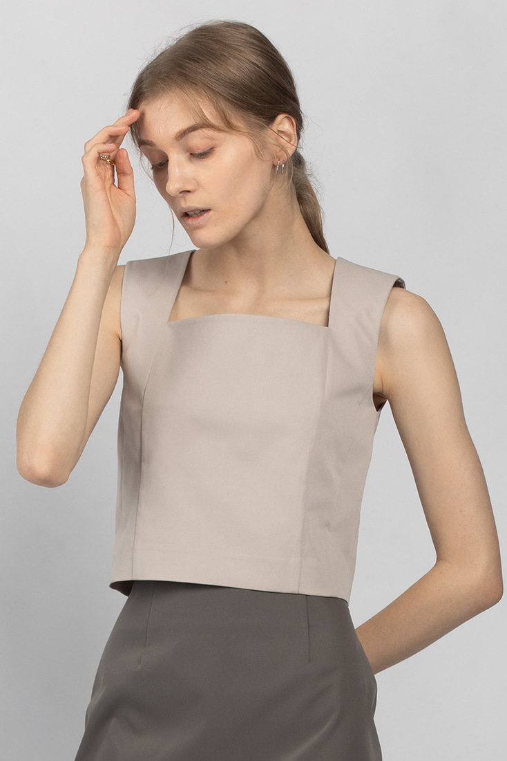 Square Neck Top - Grey