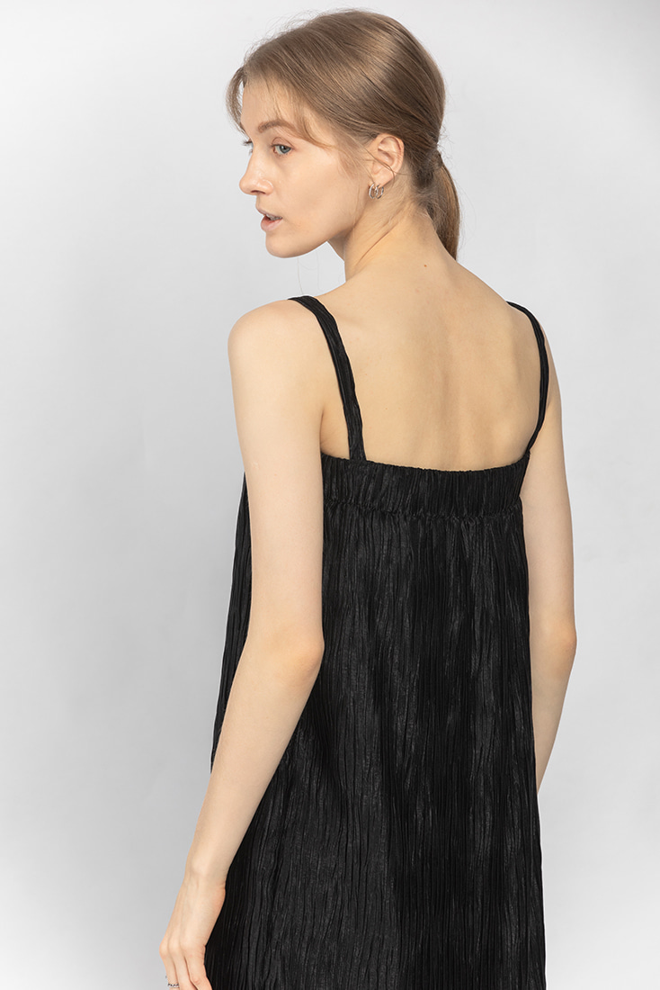 Pleats Band Top Dress - Black