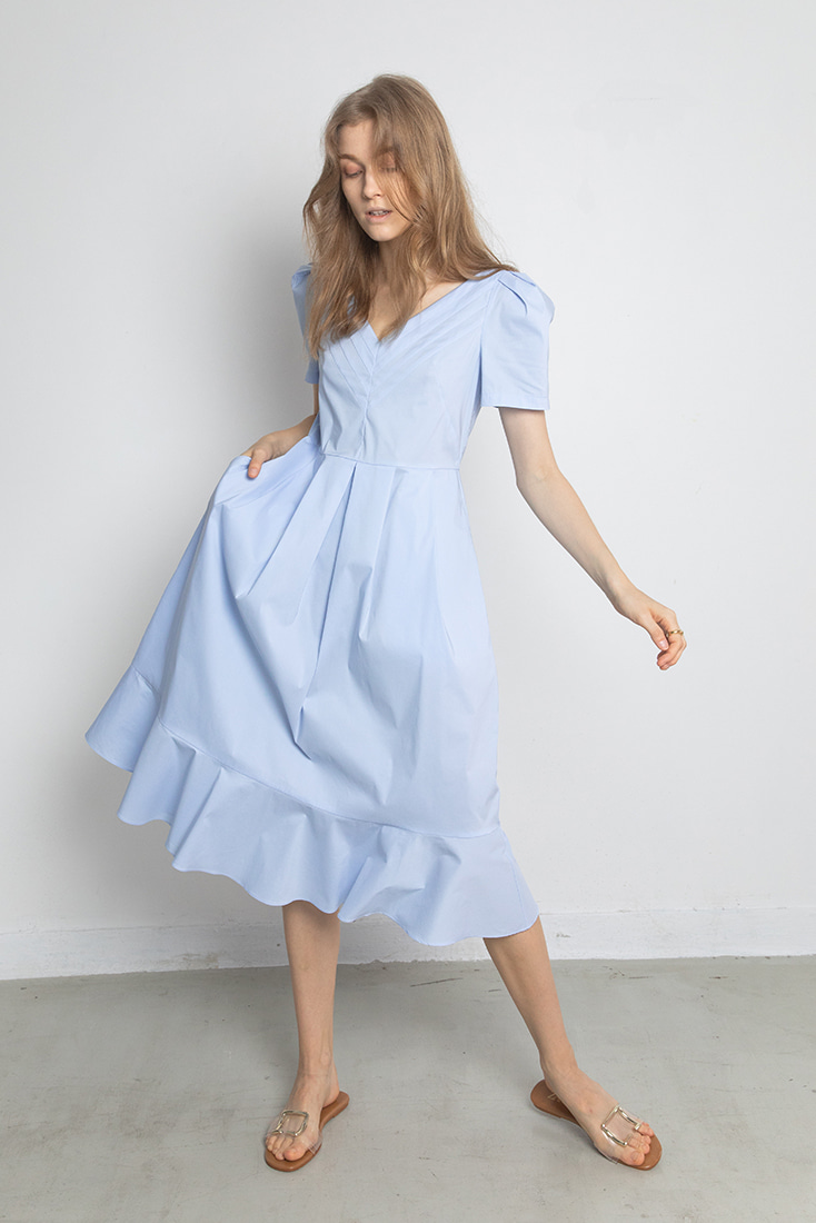 Cotton Pleats Neck Dress - Blue