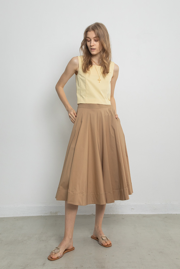 Wide Cotton Culottes - Beige