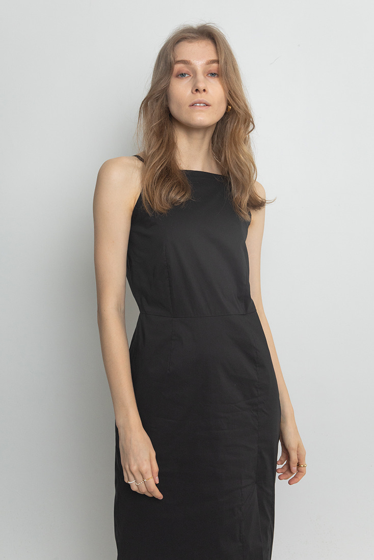 Halter I-line Dress - Black