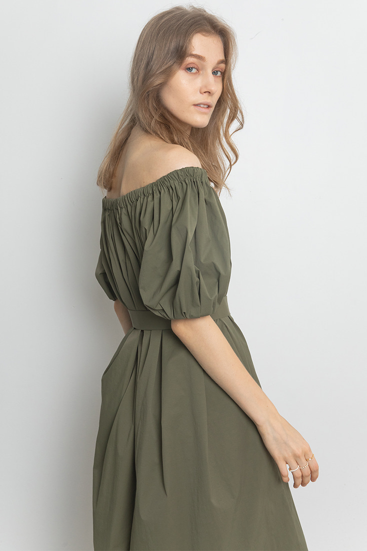 Simple Gathered Neck Dress - Khaki