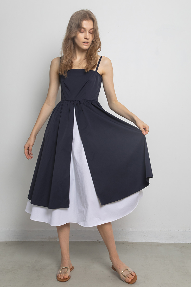 Double Layer Classic Dress - Navy