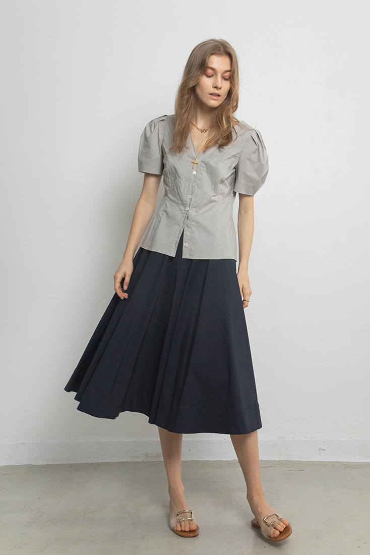 Wide Cotton Culottes - Navy