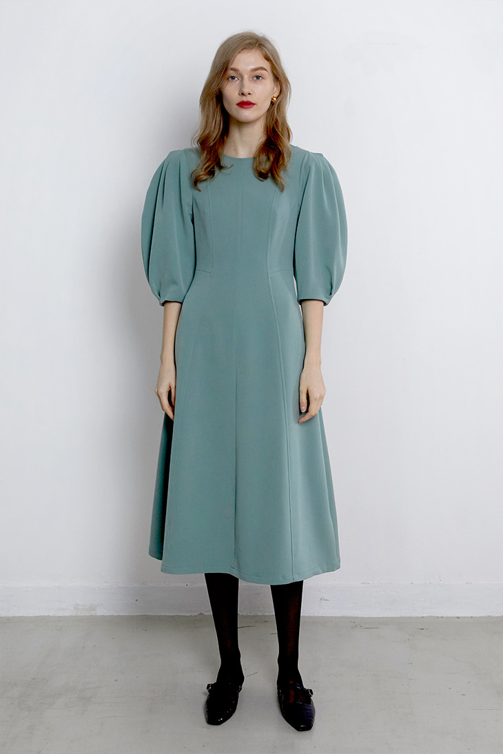 Volume Puffy Line Dress-Mint