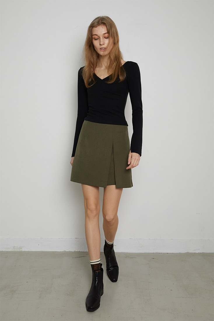 High Quality Slit Mini Skirt - Khaki