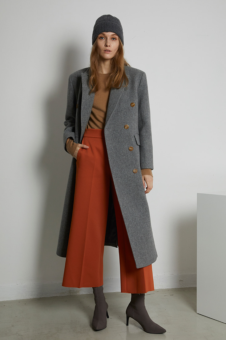 Tailored Wool Coat - Grey