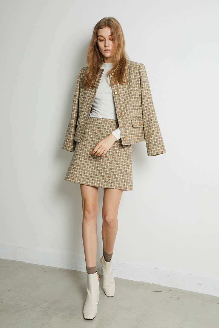Abraham Moon Tweed  Mini Skirt