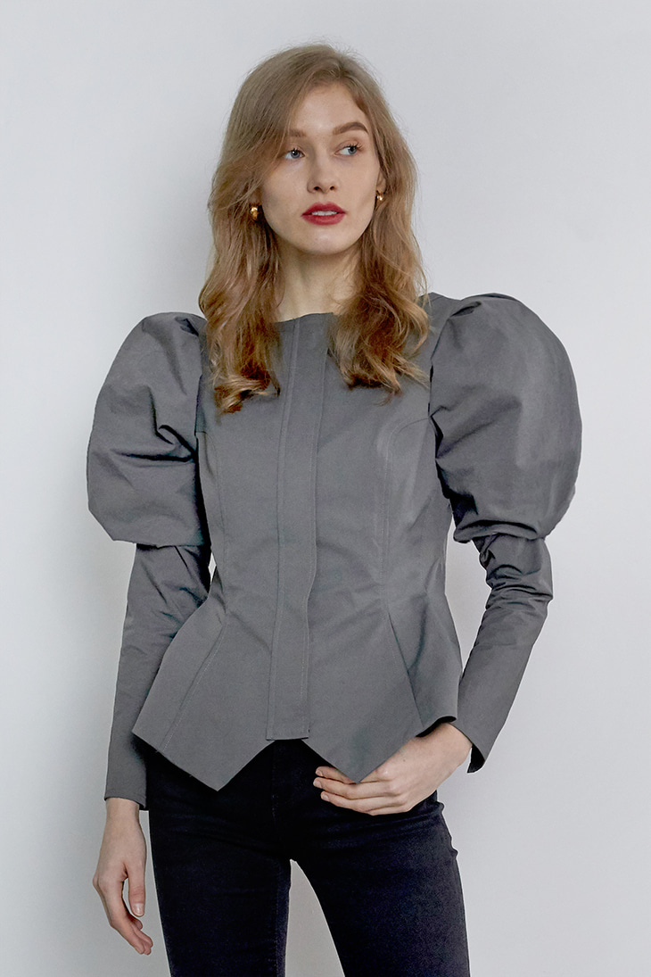 Puffy Sleeve Zip-up Blouse - Grey